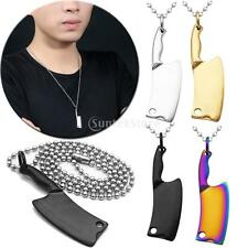 Mens Multicolor Stainless Steel 3D Kitchen Knife Pendant Unique Necklace Chain