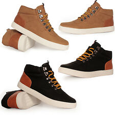 NEW BOYS MENS DESIGNER HI TOPS TRAINERS HIGH ANKLE FLAT CANVAS PUMPS BOOTS SHOES