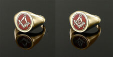 9ct Yellow gold Square and compass Reversible Masonic ring- Red