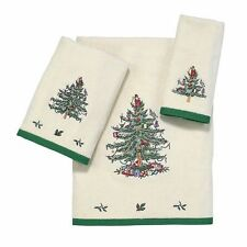 Spode Christmas Tree Embroidered Towels~Choose Bath/Hand/FingerTip~Ivory Velour