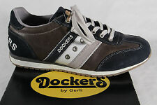 Dockers Men's Lace-up Shoes Sneakers blue/grey Real leather NEW