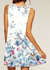 Women Fashion Printed A-Line Mini O-Neck Sleeveless Party Sundress Dress