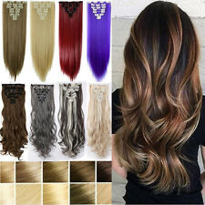 8 Piece Clip in Hair Extensions 18 Clips Full Head Long Straight Curly Human PB3
