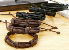 Fashion Men's Genuine Leather Braided Cuff Bangle Punk Wristband Bracelet Adjust