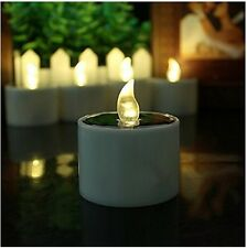 6/12pcs Solar Power LED Tealight Flickering Flameless Candle Light Party Decor