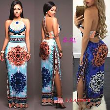 Women's Floral Boho Long Dress Maxi Summer Beach Sundress Evening Party Cocktail