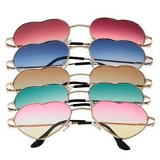 Gold Metal Heart Rim Full Frame Sunglasses Glasses Gradient Lens Summer Eyewear