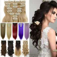 Long Natural Clip in Hair Extensions 8 Pieces Full Head Real As Human Hair PR5