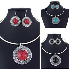 Women Necklace Earrings Round Jewelry Vintage Turqoise Fashion Sets Sets For