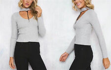 New Womens Slim Long Sleeve Blouse Tops Cotton T-Shirt Casual Blouse Tee m8