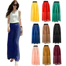 Pleated Women Elastic Waist Double Layer Chiffon 1 pcs Skirt Retro Long Dress