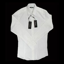 NWT $375 Dolce & Gabbana White Button Down Dress Shirt Gold Fit 16 17 AUTHENTIC