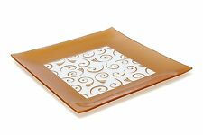 """Decorative Paisley Pattern Plate Glass Serving Tray Tempered Square Platter 13"""""""
