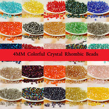 Hot 100 Pcs Wholesale 4mm Bicone Faceted Bead Crystal Glass Loose Spacer Beads