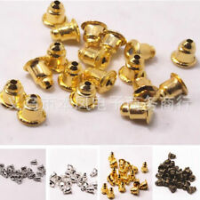100Pcs Metal Finding Ear Caps Silver Bronze Gold Bullet Jewelry Accessories