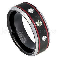 Tungsten Ring,0.21ctw Peridot & Diamond 3-Stone Ring,August Birthstone Ring #745
