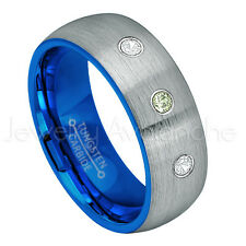 Tungsten Ring,0.21ctw Peridot & Diamond 3-Stone Ring,August Birthstone Ring #736