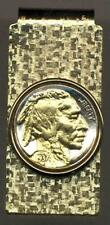 Indian Head Nickel 24k Gold on Silver Hinged Coin Money Clip (Minted 1913-1938)