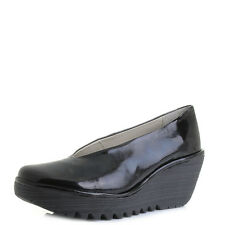 Womens Fly London Yaz Patent Black Luxor Leather Wedge Heel Shoes Size