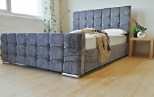 Crystal Fabric Upholstered Grey Bed Frame 4FT6 Double 5FT King Size