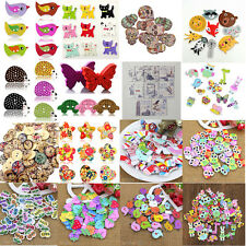 50x Mixed Animal Heart 2Holes Wooden Buttons Sewing Craft Scrapbooking DIY Great