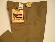 Wrangler Wrancher mens tan #82TN western polyester flat front dress pants