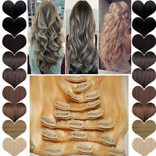 US Sale Double Weft Clip in Full Head Hair Extensions Real Thick Straight Wavy A