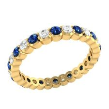 0.98 ct Blue & White Sapphire Solid Gold Full Eternity Wedding Band Ring Size O