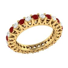 1.40 ct Red Ruby & Sapphire Solid Gold Full Eternity Wedding Band Ring Size O