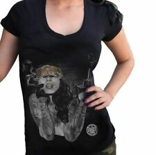 Dyse One Smoking the Competition V-Neck Tee Black Tattoo Pinup Girl T-shirt