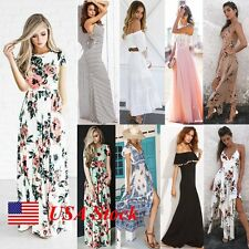 Summer Cocktail Beach Dress Long Maxi Short Sleeve Sundress Evening Party Women