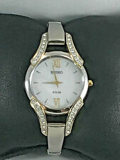 Ladies Seiko SUP214 Two Tone Stainless Steel Crystal Accented MOP Dial Watch