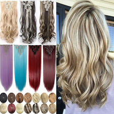 Long Straight Curly Full Head 8Pcs 18Clips Clip In Hair Extensions For Human P63