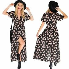 UK 6-12 Ladies Boho Floral Print V Neck Belt Split Beach Party Long Maxi Dress