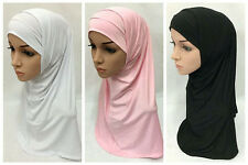 Beautiful Plain Hijab Muslim Islamic Hijab Scarf Woman Amira Cap 2 Pieces Set