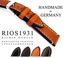 BAND 18mm made Germany RIOS1931 Vintage Look Genuine Leather Watch Pilot Strap C