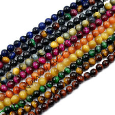 Natural Tiger's Eye Rose Sapphire Peridot Topaz Mix-Color Round Beads 7.5""