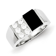 Men'S 925 Sterling Silver Channel Set Onyx and Cubic Zirconia Ring