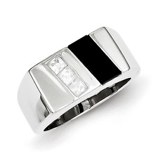 Men'S 925 Sterling Silver 3 Stone Onyx and Cubic Zirconia Ring