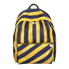 Stripe Pattern Canvas Big Capacity Student School Shoulder Bag Laptop Backpack