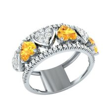 1.94ct Heart & Round Cut Citrine & White Sapphire Solid Gold Heart Ring