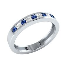 0.25 ct Round & Princess Cut Blue & White Sapphire Solid Gold Half Eternity Ring