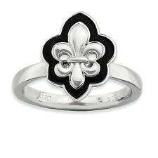 925 Sterling Silver Black Enamel Halo-Style Fleur De Lis Ring - 2.25mm