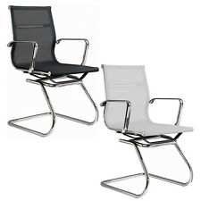 Mesh Visitor Chair Aluminum Frame Modern Group Office Guest Chair BLACK OR WHITE