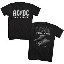 ACDC Mens New T-Shirt Two Sided BACK IN BLACK Tour 100% Cotton Black in SM - 5XL