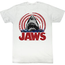 Jaws Mens T-Shirt White New Licensed Spiral Shark Official 100% Cotton SM - 2XL