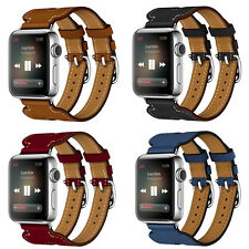 For Apple Watch Series 2/1 Double Buckle Cuff Leather Herme Band Bracelet Strap