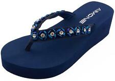 AIMONE Womens Habib Flower Crystal Mid Heel Flip Flop Sandals Summer Beach Thong