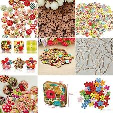 100x Star Heart Flower 2 Holes Wood Sewing Craft Scrapbooking DIY Buttons Great