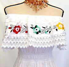 Mexican Blouse Hand Embroidered Floral  Women Oaxaca Top Hippie Gauze Peasant